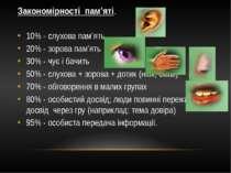 Закономірності пам'яті. 10% - слухова пам'ять 20% - зорова пам'ять 30% - чує ...