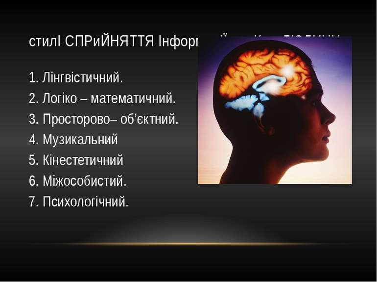 стилІ СПРиЙНЯТТЯ ІнформацІЇ мозКом ЛЮДИНИ 1. Лінгвістичний. 2. Логіко – матем...