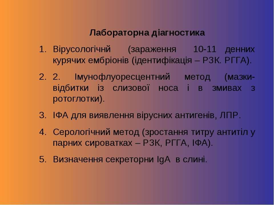 Лабораторна діагностика Вірусологічнй (зараження 10-11 денних курячих ембріон...