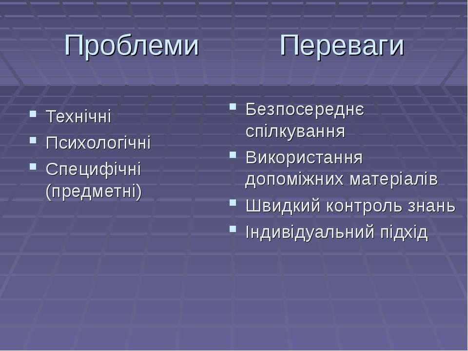 Проблеми Переваги Технічні Психологічні Специфічні (предметні) Безпосереднє с...