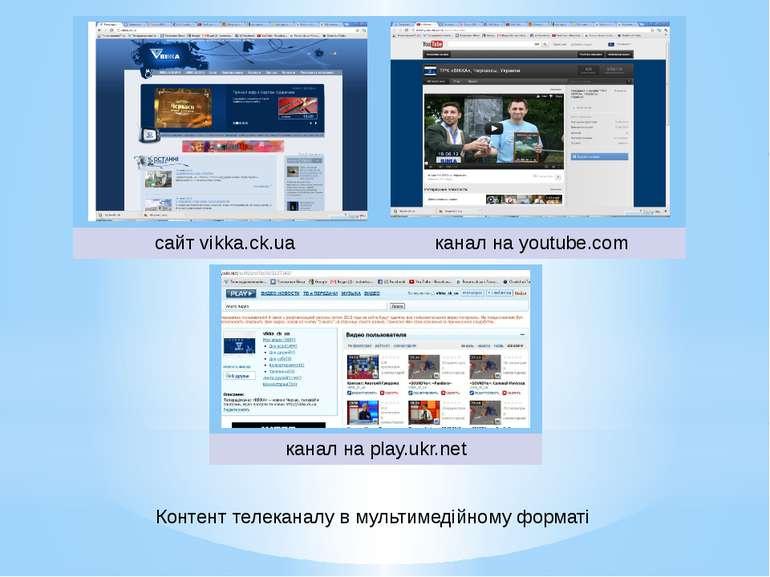 Контент телеканалу в мультимедійному форматі сайтvikka.ck.ua канал наyoutube....