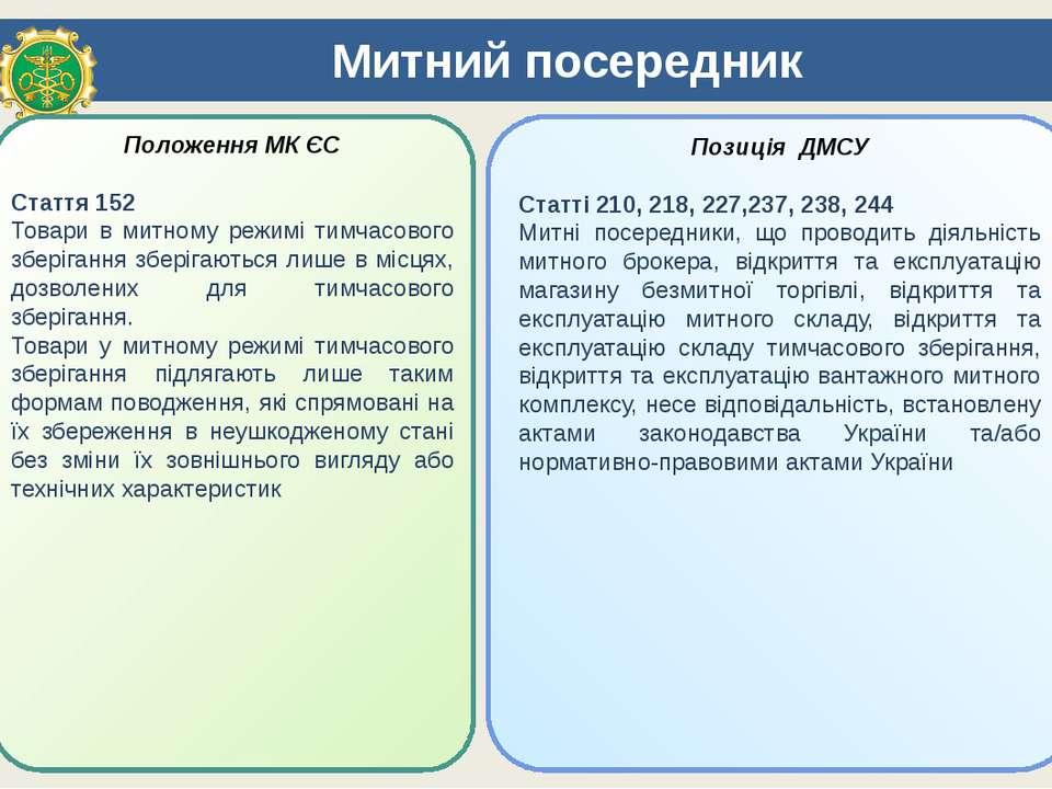 Митний посередник Положення МК ЄС Стаття 152 Товари в митному режимі тимчасов...
