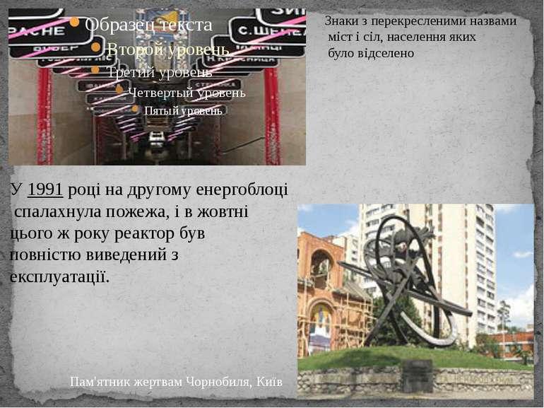 Знаки з перекресленими назвами міст і сіл, населення яких було відселено Пам'...
