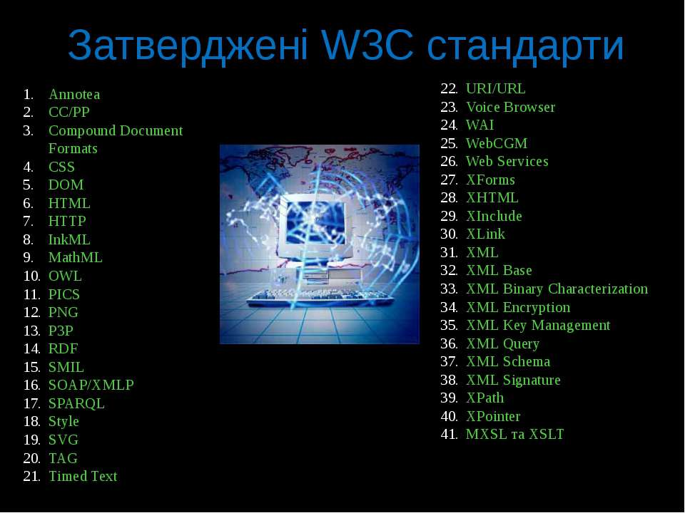 Затверджені W3C стандарти URI/URL Voice Browser WAI WebCGM Web Services XForm...
