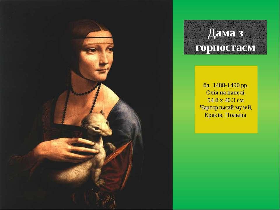 Дама з горностаєм бл. 1488-1490 рр. Олія на панелі. 54.8 x 40.3 см Чарторськи...