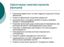 Орієнтована тематика проектів (програм) Організація ефективної системи наданн...