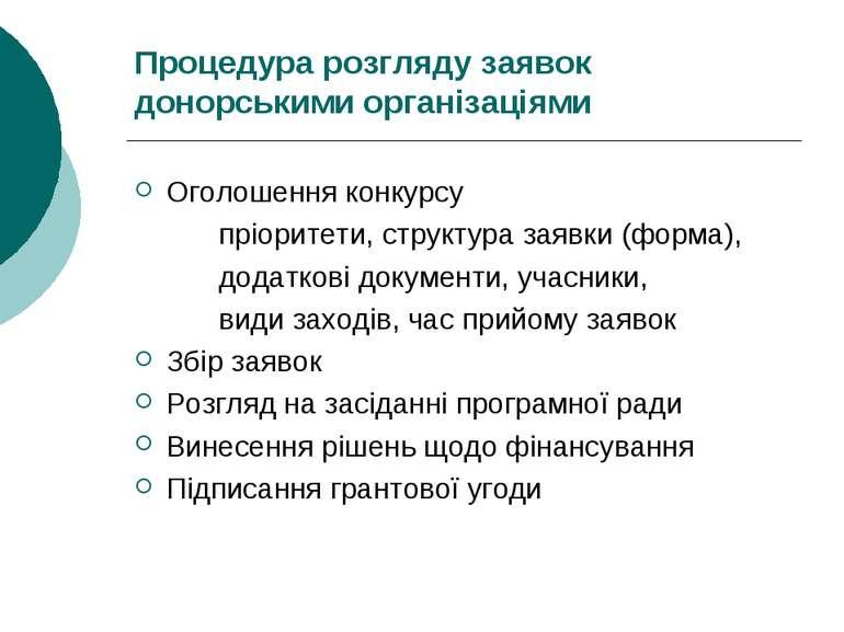 Процедура розгляду заявок донорськими організаціями Оголошення конкурсу пріор...