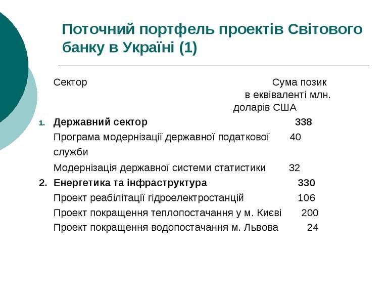 Поточний портфель проектів Світового банку в Україні (1) Сектор Сума позик в ...
