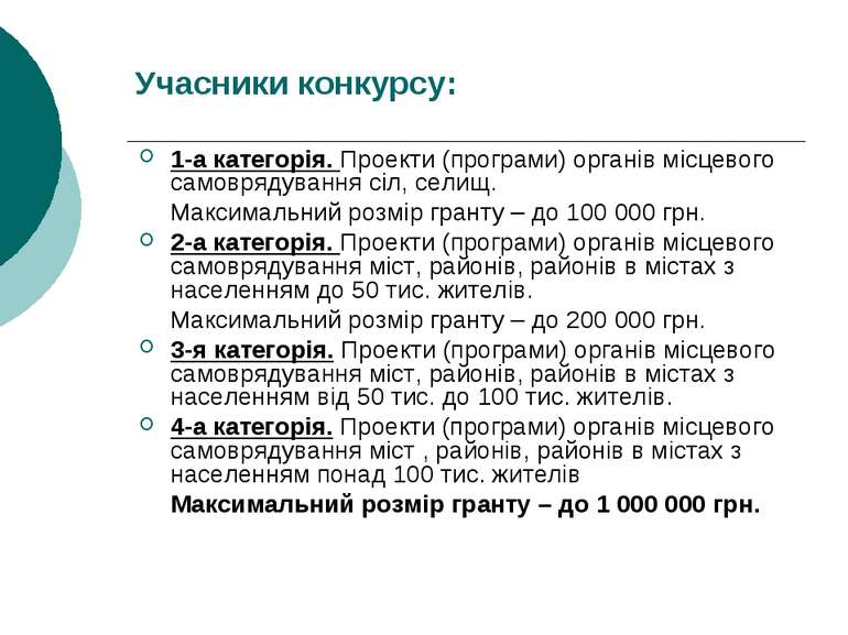 Учасники конкурсу: 1-а категорія. Проекти (програми) органів місцевого самовр...