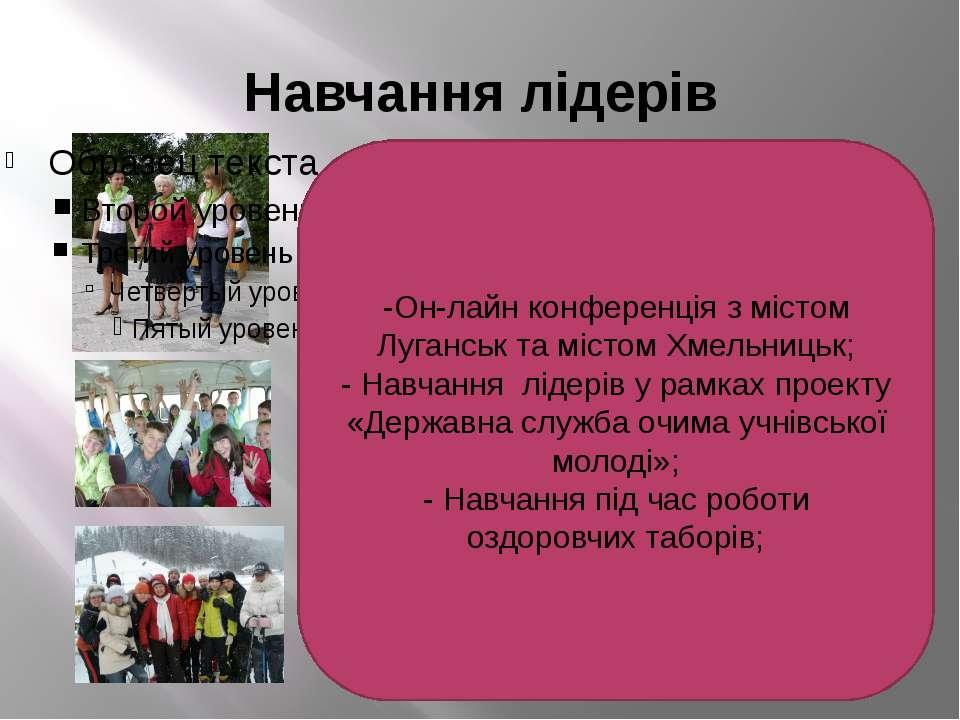 Навчання лідерів -Он-лайн конференція з містом Луганськ та містом Хмельницьк;...