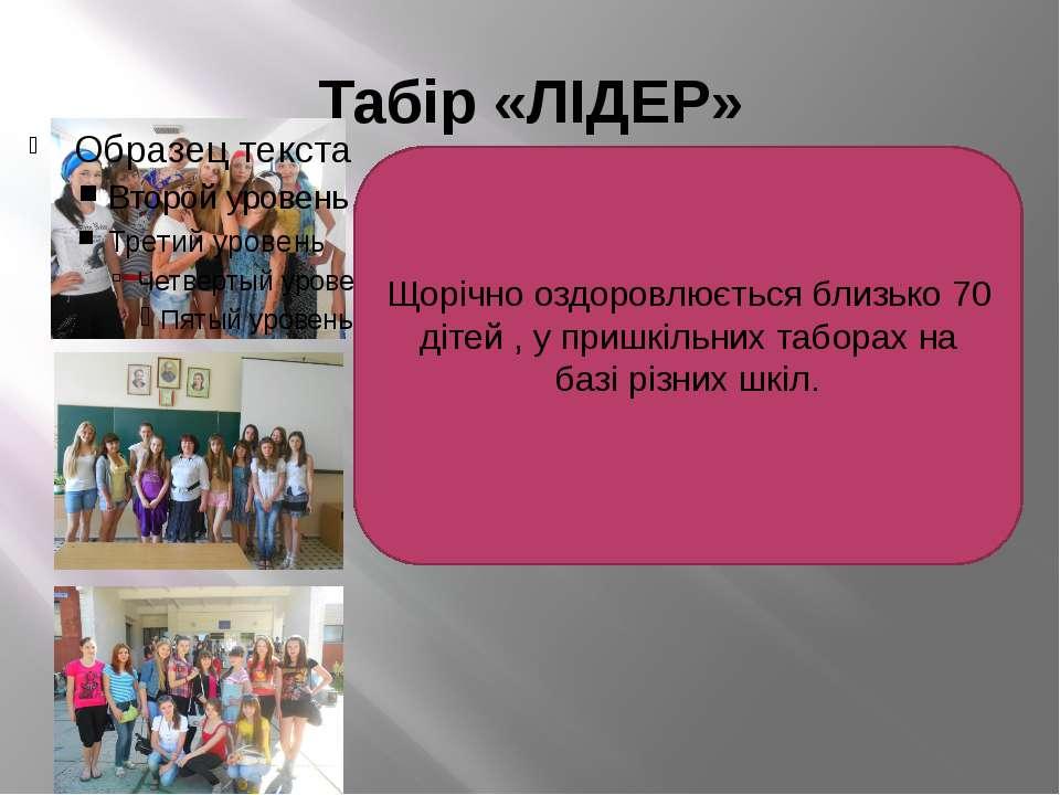 Табір «ЛІДЕР» Щорічно оздоровлюється близько 70 дітей , у пришкільних таборах...