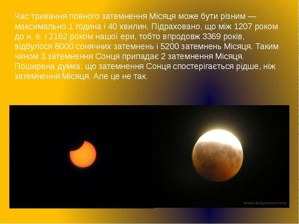 Час тривання повного затемнення Місяця може бути різним — максимально 1 годин...