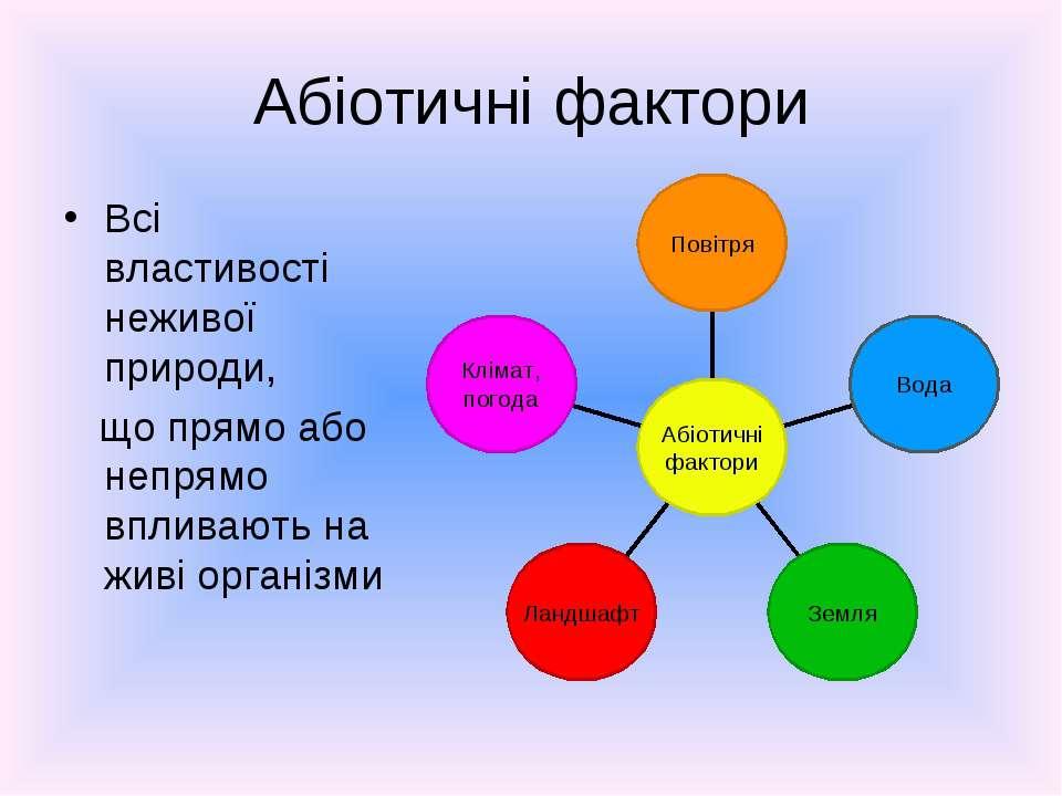 Абіотичні фактори Всі властивості неживої природи, що прямо або непрямо вплив...