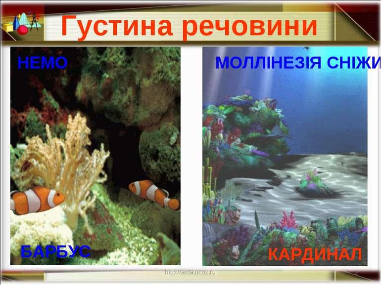Густина речовини * * http://aida.ucoz.ru НЕМО МОЛЛІНЕЗІЯ СНІЖИНКА КАРДИНАЛ БА...