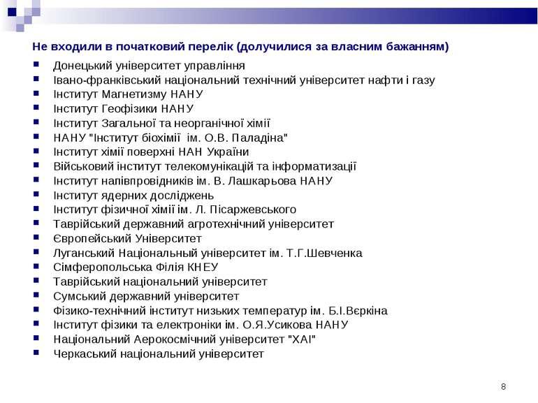 * Не входили в початковий перелік (долучилися за власним бажанням) Донецький ...
