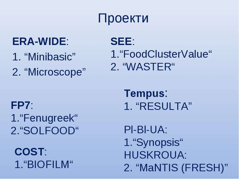 "Проекти ERA-WIDE: 1. ""Minibasic"" 2. ""Microscope"" SEE: ""FoodClusterValue"" 2. ""..."
