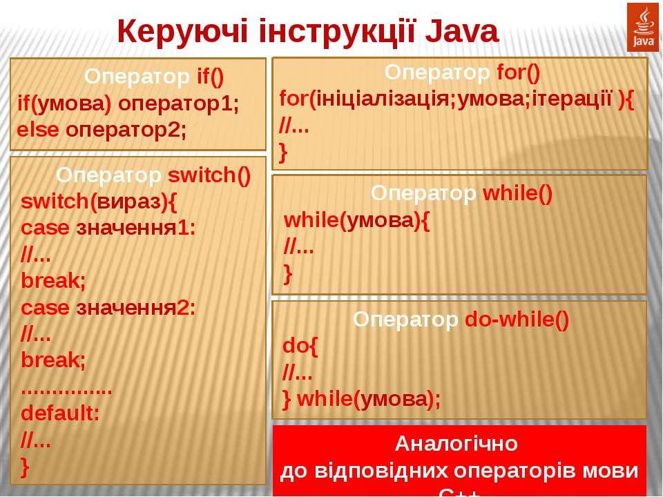 Керуючі інструкції Java Оператор if() if(умова) оператор1; else оператор2; Оп...