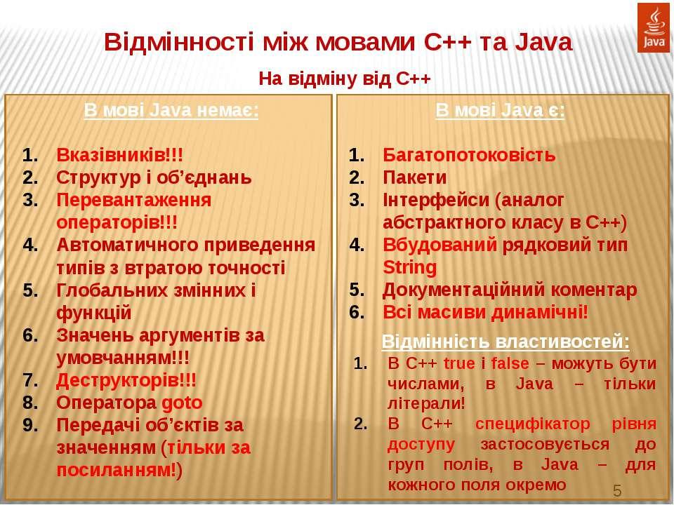 Відмінності між мовами С++ та Java На відміну від С++ В мові Java немає: Вказ...
