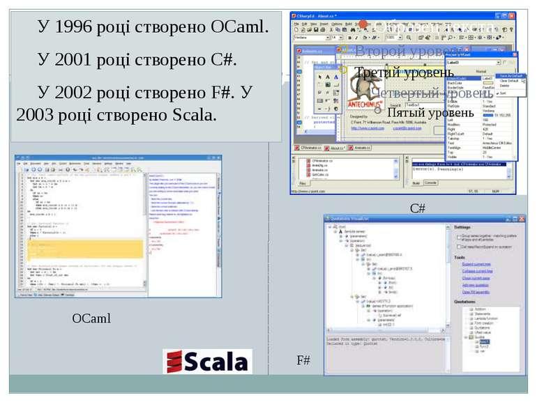 У 1996 році створено OCaml. У 2001 році створено C#. У 2002 році створено F#....