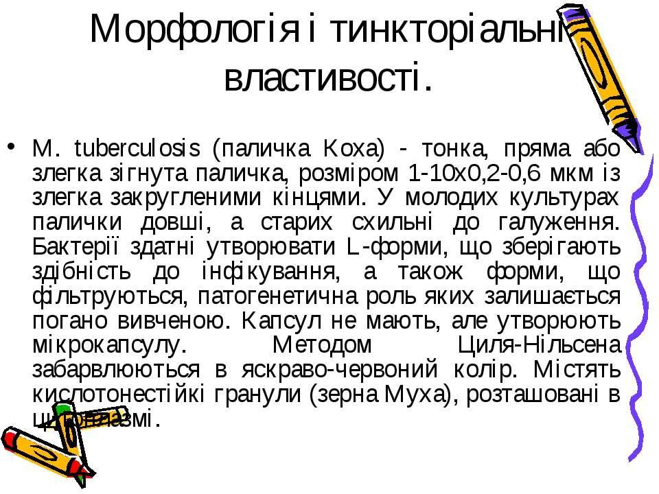 Морфологія і тинкторіальні властивості. M. tuberculosis (паличка Коха) - тонк...