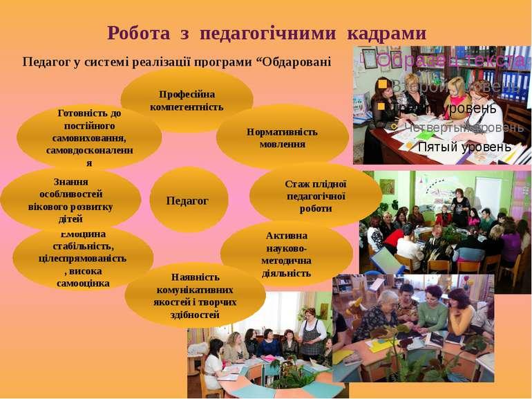"""Робота з педагогічними кадрами Педагог у системі реалізації програми """"Обдаров..."""