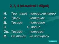 2, 3, 4 (кількісні і збірні) Зміст Н. Три, троє чотири,четверо Р. Трьох чотир...