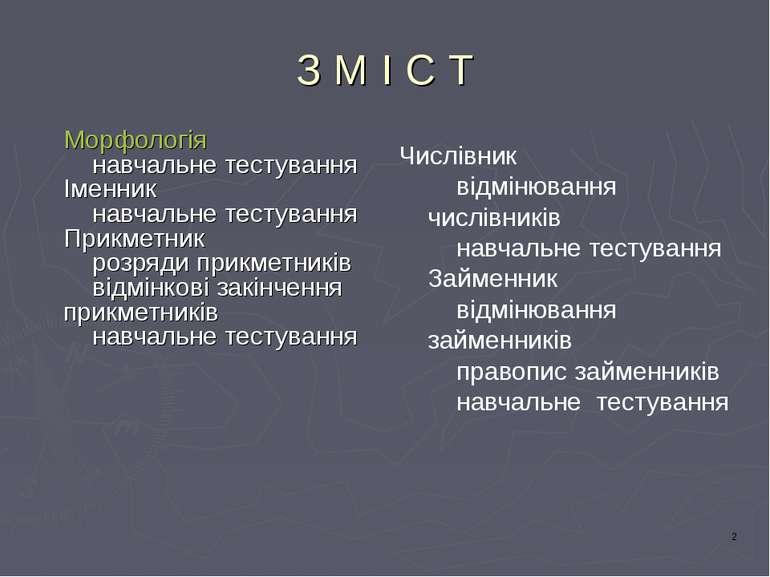 З М І С Т Морфологія навчальне тестування Іменник навчальне тестування Прикме...