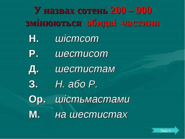 У назвах сотень 200 – 900 змінюються обидві частини Зміст Н. шістсот Р. шести...