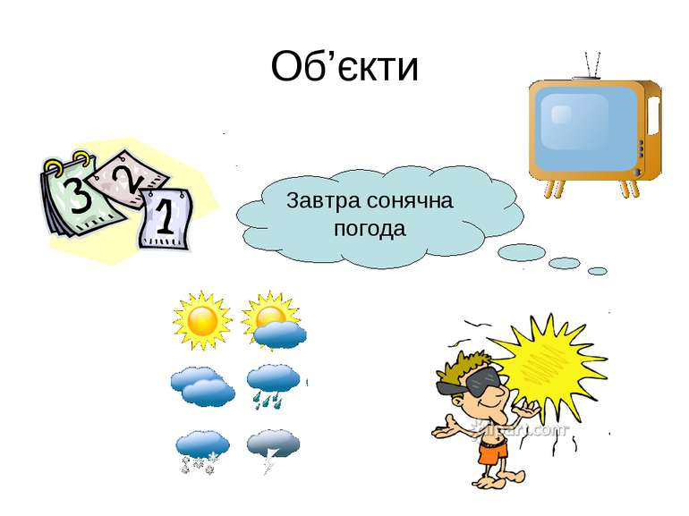 Об'єкти Завтра сонячна погода