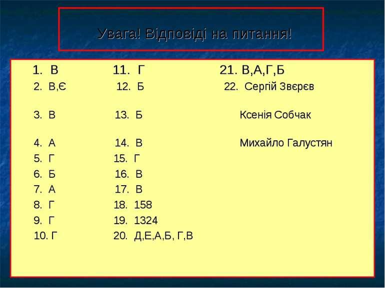 Увага! Відповіді на питання! 1. В 11. Г 21. В,А,Г,Б 2. В,Є 12. Б 22. Сергій З...