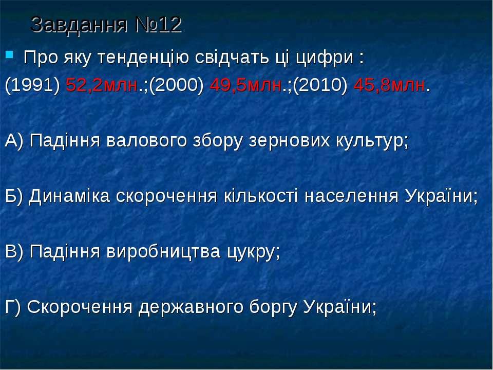 Завдання №12 Про яку тенденцію свідчать ці цифри : (1991) 52,2млн.;(2000) 49,...