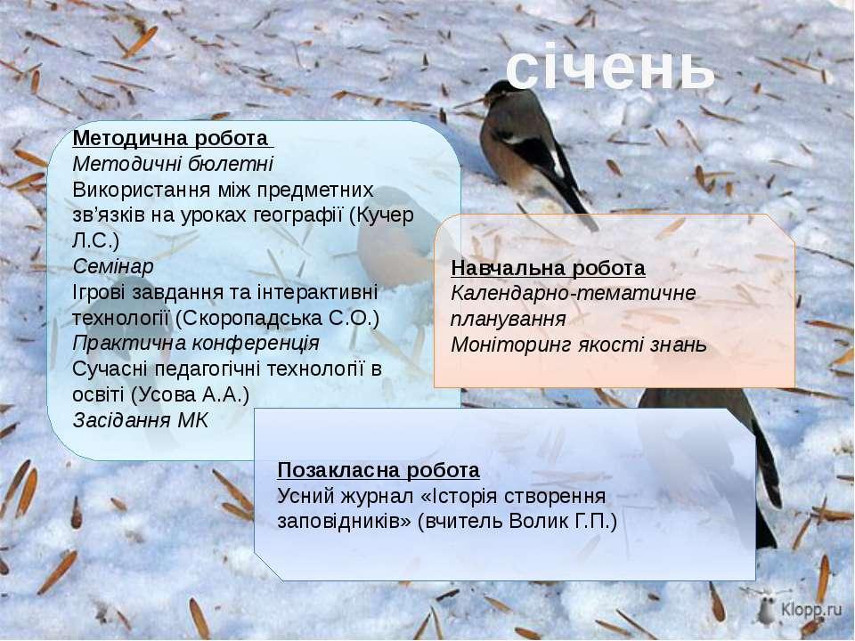 січень Методична робота Методичні бюлетні Використання між предметних зв'язкі...