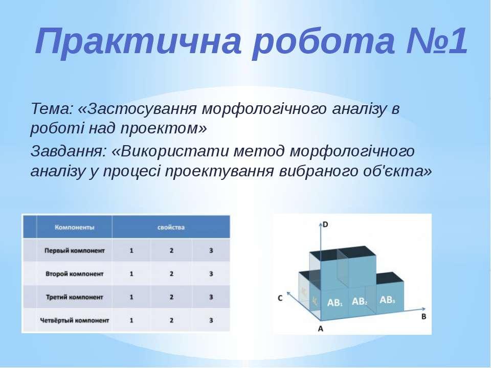 Тема: «Застосування морфологічного аналізу в роботі над проектом» Завдання: «...