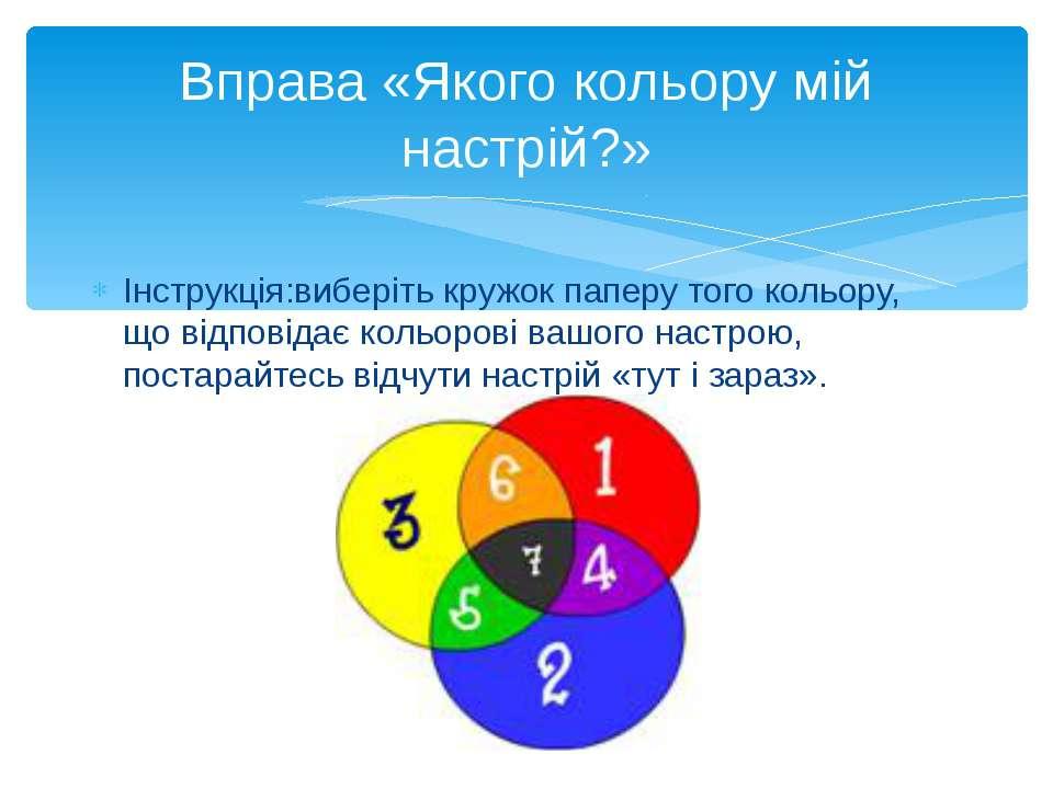 Вправа «Якого кольору мій настрій?» Інструкція:виберіть кружок паперу того ко...