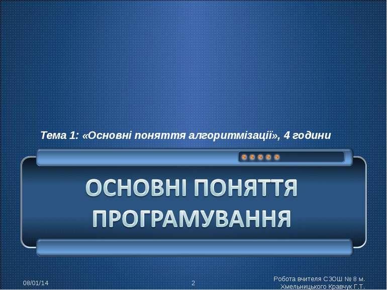 Тема 1: «Основні поняття алгоритмізації», 4 години * * Робота вчителя СЗОШ № ...
