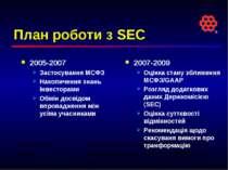 План роботи з SEC 2005-2007 Застосування МСФЗ Накопичення знань інвесторами О...