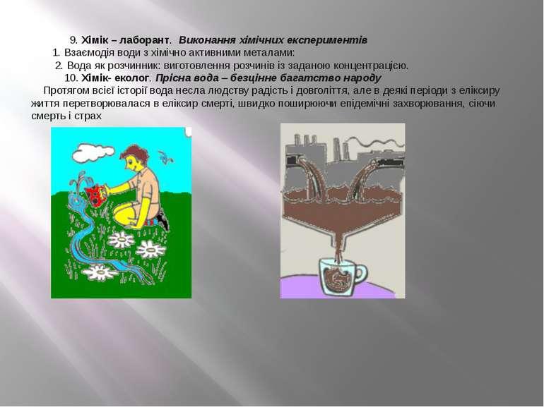 9. Хімік – лаборант. Виконання хімічних експериментів 1. Взаємодія води з хім...