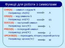 Функції для роботи з символами CHR(N) — символ з кодом N Наприклад: chr(65) O...