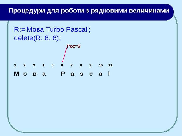 Poz=6 R:='Moва Turbo Pascal'; delete(R, 6, 6); Процедури для роботи з рядкови...