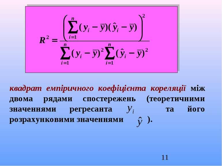 квадрат емпіричного коефіцієнта кореляції між двома рядами спостережень (теор...