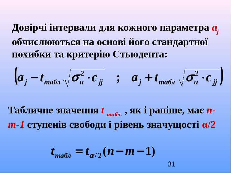 Довірчі інтервали для кожного параметра aj обчислюються на основі його станда...