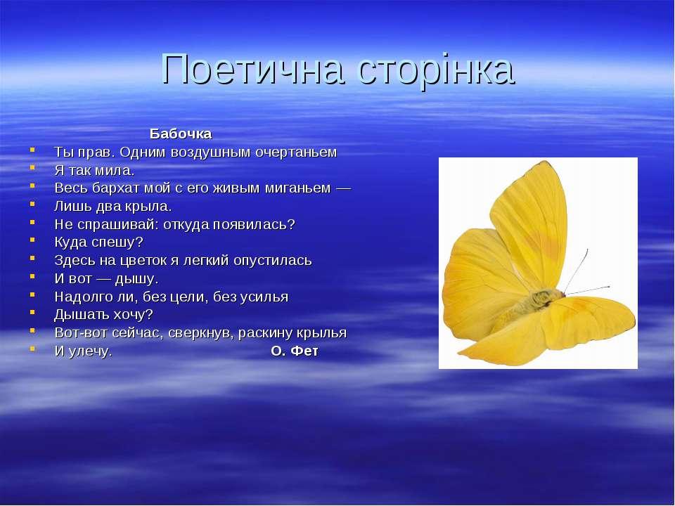 Поетична сторінка Бабочка Ты прав. Одним воздушным очертаньем Я так мила. Вес...