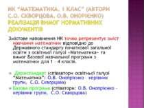 "НК ""Математика. 1 клас"" (автори С.О. Скворцова. О.В. Онорієнко) Реалізація ви..."
