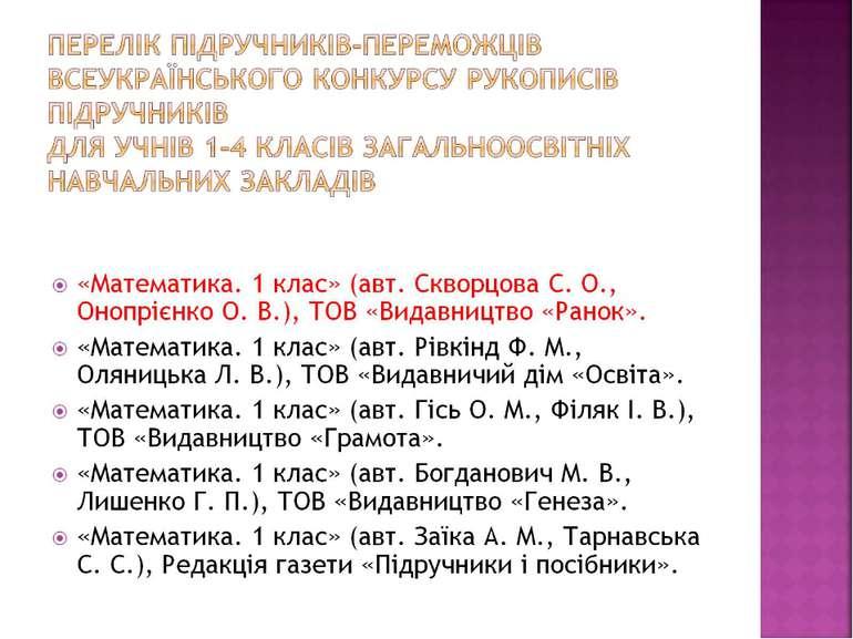 Перелік підручників-переможців Всеукраїнського конкурсу рукописів підручник...