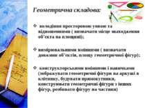 Геометрична складова: володіння просторовою уявою та відношеннями ( визначати...