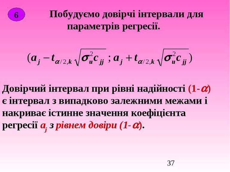 Побудуємо довірчі інтервали для параметрів регресії. 6 Довірчий інтервал при ...