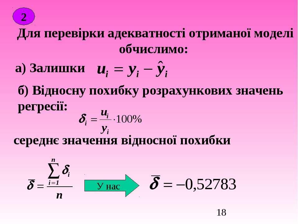 Для перевірки адекватності отриманої моделі обчислимо: 2 а) Залишки б) Віднос...
