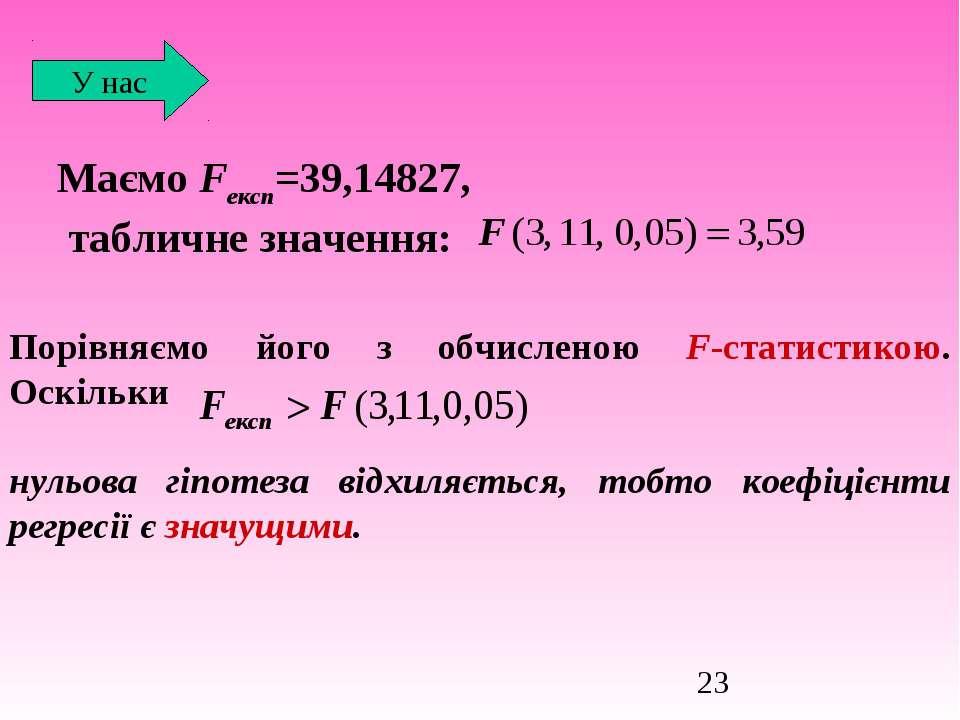 Маємо Fексп=39,14827, табличне значення: У нас Порівняємо його з обчисленою F...