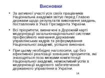 Висновки За активної участі усіх своїх працівників Національна академія звіту...