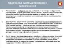 Трирівнева система пенсійного забезпечення Перший рівень - солідарна система,...